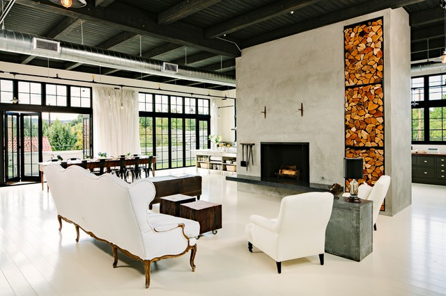 Messy Marvin Living Room Industrial with Black Ceiling Ductwork Fireplace