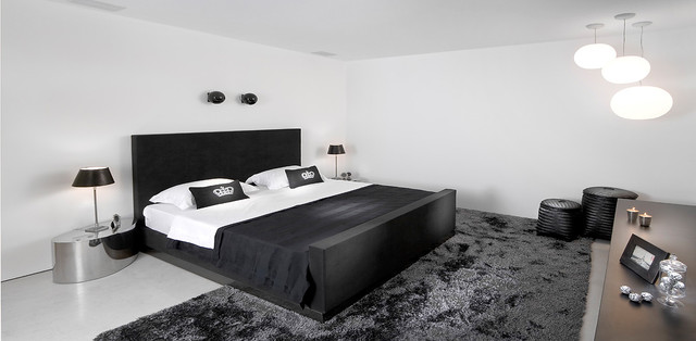 Metal Nightstand Bedroom Contemporary with Accent Pillows Area Rug