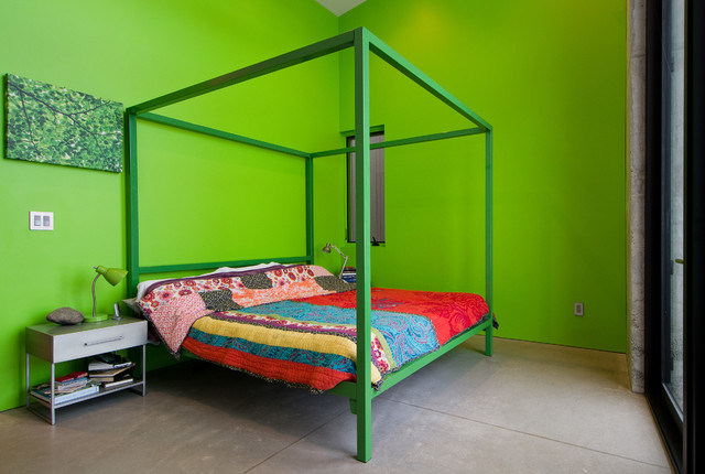 metal nightstand Bedroom Contemporary with bright bedding bright bedroom