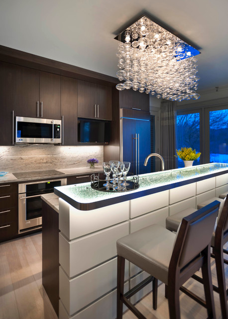 Michigan Chandelier Kitchen Contemporary with Backlit Countertops Breakfast Bar