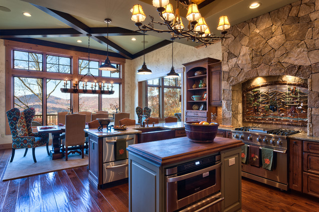 michigan chandelier Kitchen Rustic with blue kitchen island Cabinetry