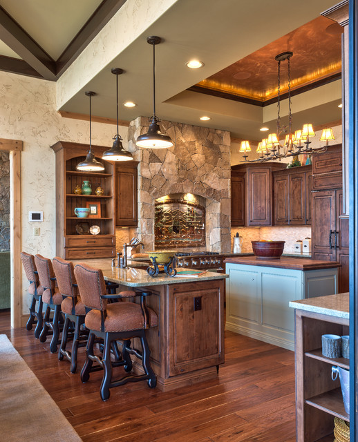 Michigan Chandelier Kitchen Rustic with Blue Kitchen Island Cabinetry1