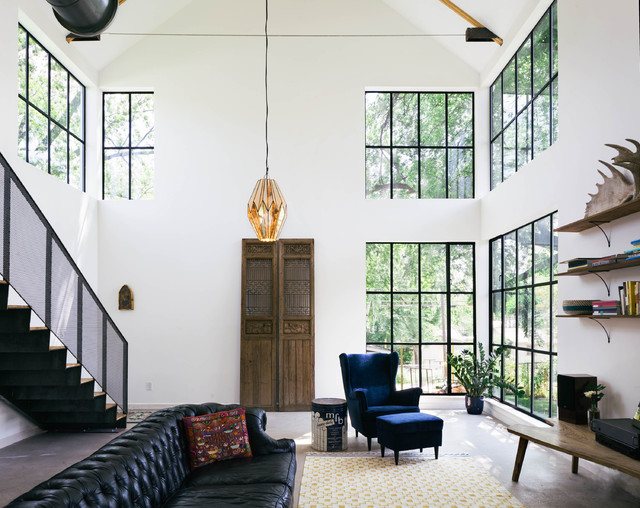 Michigan Chandelier Living Room Industrial with Barn Black Chesterfield Sofa
