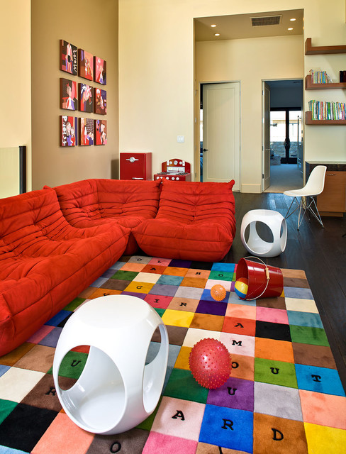 Microfiber Sectional Couch Kids Contemporary with Area Rug Art Bold