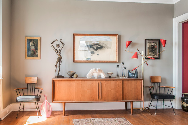 Mid Century Credenza Living Room Eclectic with Area Rug Arm Chairs