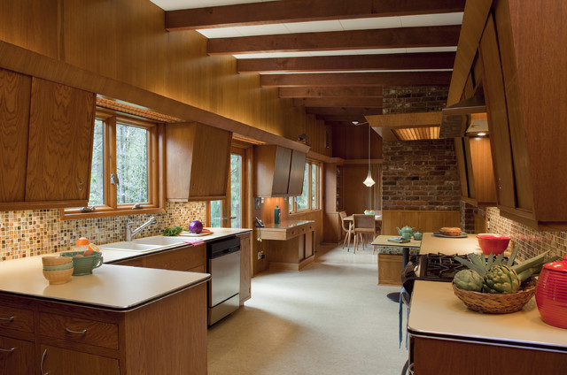 Mid Century Modern Kitchen Midcentury with Breakfast Nook Brick Wall