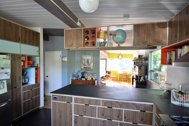 Mid Century Modern Kitchen Modern with Aluminum Windows Blocky Cross