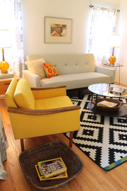 Mid Century Modern Living Room Midcentury with Amber Glass Lamp Basket