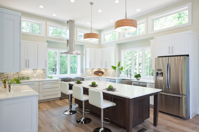 Mid Continent Cabinetry Kitchen Transitional with 48 Range Backsplash Glass