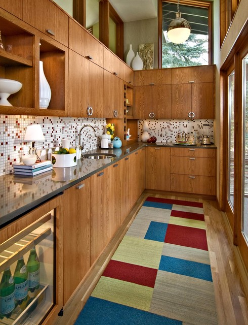 Mid Continent Cabinets Kitchen Midcentury with Ceramics Clerestory Display Shelves1