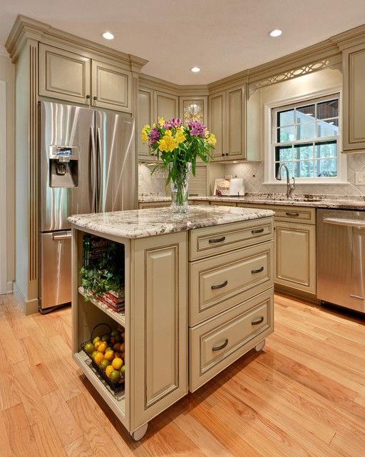 mid continent cabinets Kitchen Traditional with ceiling lighting floral arrangement