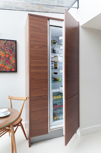 Miele Refrigerator Kitchen Contemporary with Baseboard Flat Panel Cabinets