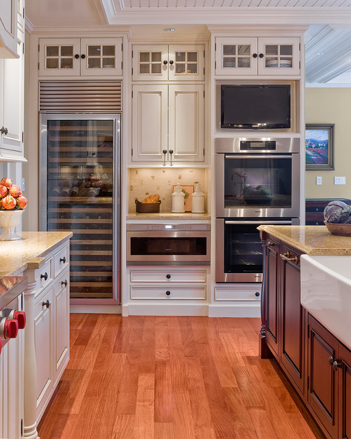 Miele Refrigerator Kitchen Traditional with Apron Sink Beadboard Ceiling