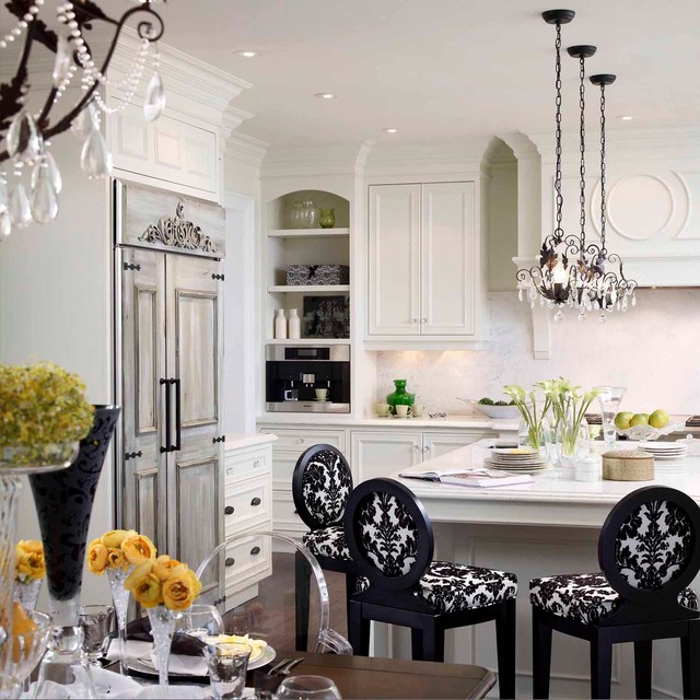Miele Refrigerator Kitchen Traditional with Black Black and White