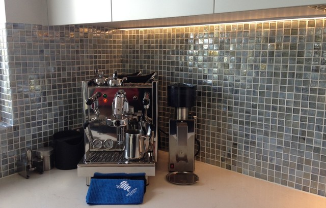 Milk Frother Spaces Contemporary with Bezzera Coffee Machine Blue