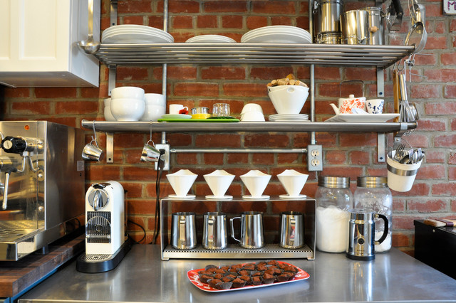 Milk Steamer Kitchen Eclectic with Brick Wall Chocolates Coffee