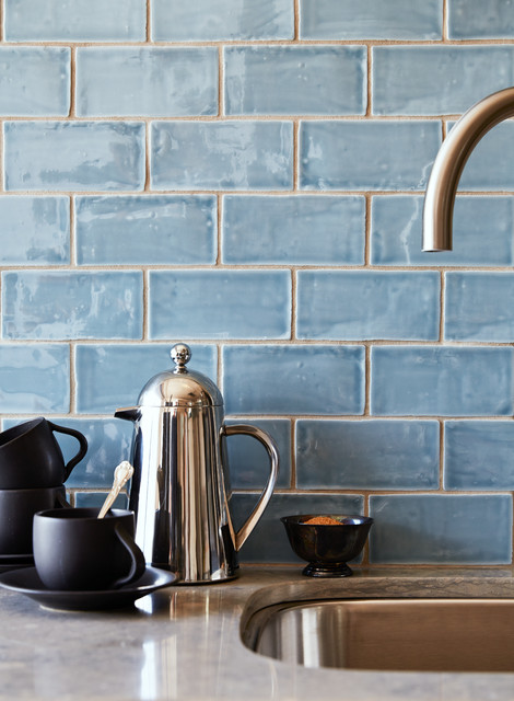 Milk Steamer Kitchen Transitional with 3x6 Subway Tile Bluestone
