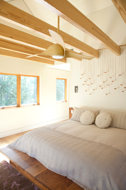 Minka Aire Bedroom Contemporary with Beams Bed Bedroom Cathedral