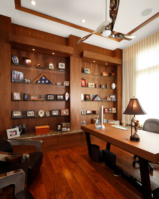 Minka Aire Home Office Contemporary with Built in Shelves Ceiling
