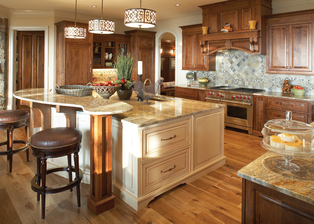 Minka Lavery Kitchen Traditional with Beige Cabinets Brown Leather