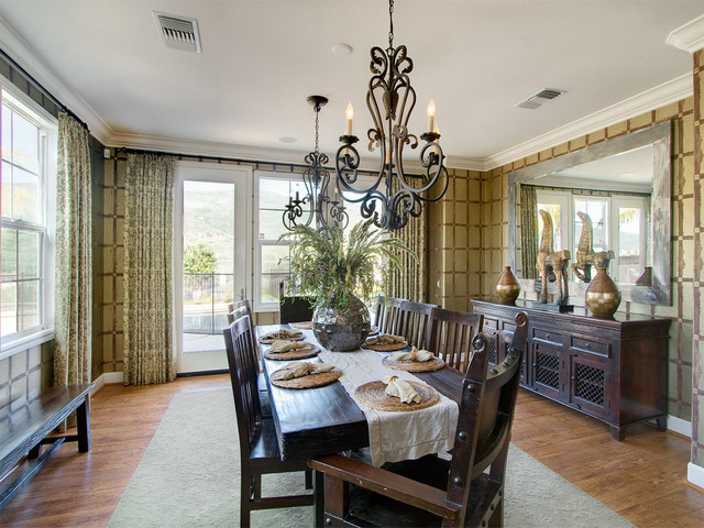 mirrored buffet Dining Room Contemporary with area rug baseboards centerpiece