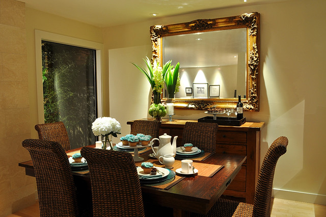 Mirrored Buffet Dining Room Contemporary with Ceiling Lighting Floral Arrangement