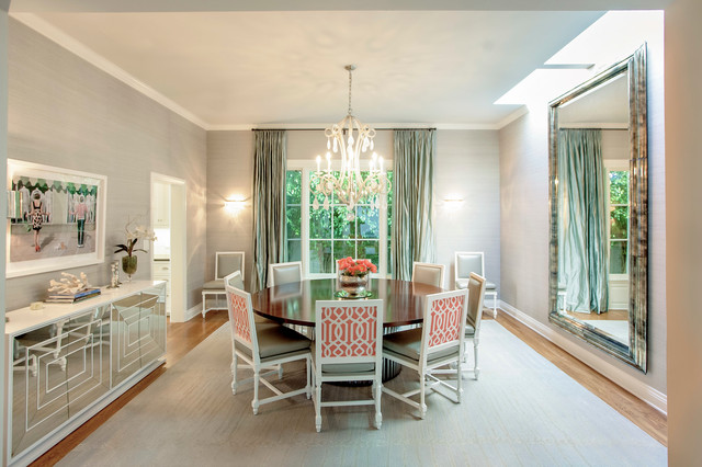 Mirrored Buffet Dining Room Transitional with Dark Wood Dining Table1