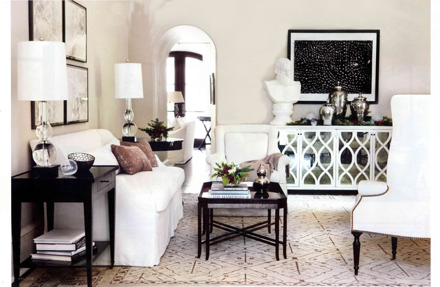 Mirrored Buffet Living Room Contemporary with Arched Doorway Bust Cadenza