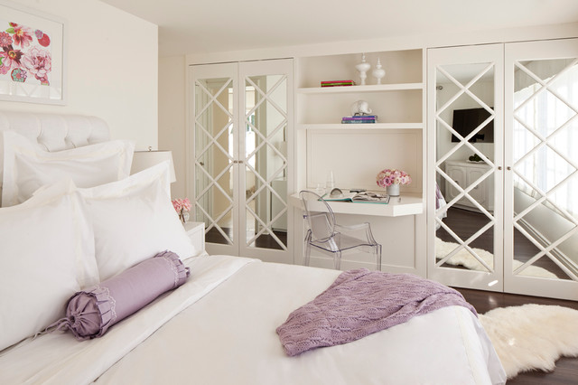 Mirrored Closet Doors Bedroom Traditional with Bolster Pillow Built in Desk