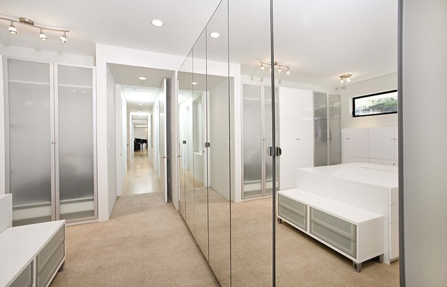 Mirrored Closet Doors Closet Contemporary with Built Ins Ceiling Lighting1