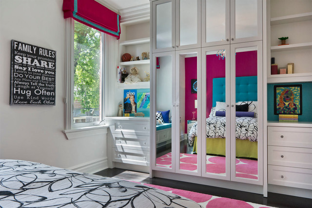 Mirrored Closet Doors Kids Transitional with Bedding Bolster Bright Colours