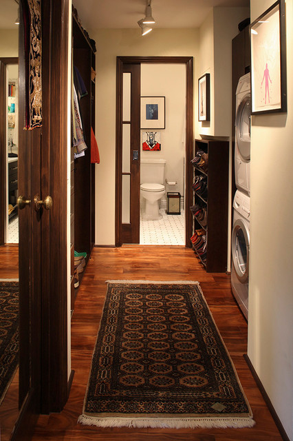 Mirrored Closet Doors Laundry Room Eclectic with Dark Wood Floor Dark