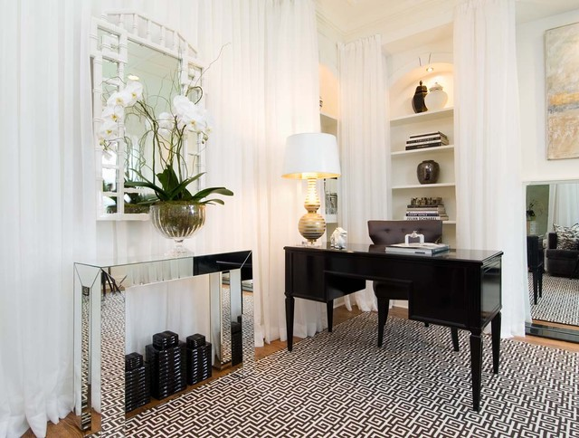 mirrored console table Home Office Contemporary with area rug artwork bamboo