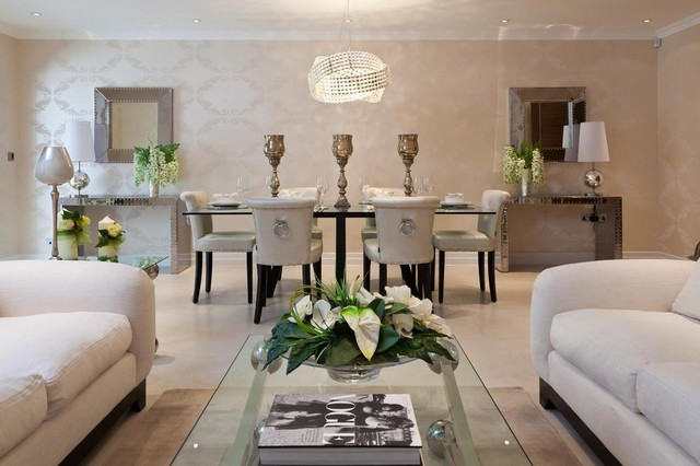 Mirrored Console Table Living Room Contemporary with Ceiling Lighting Chandelier Console