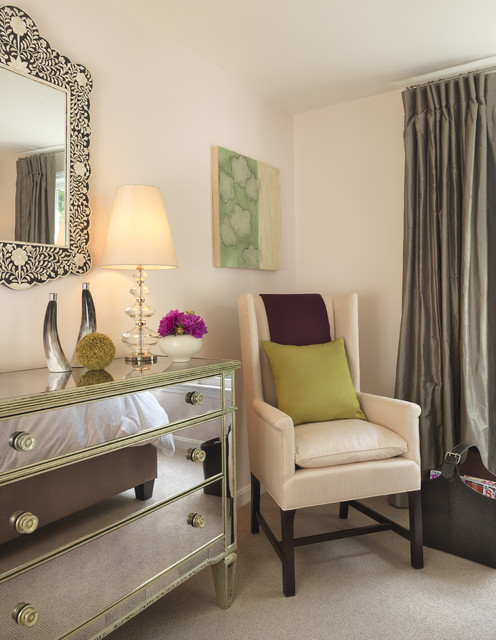 mirrored dresser Bedroom Traditional with beige carpet bone inlay