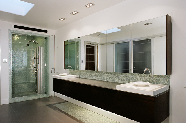Mirrored Medicine Cabinet Bathroom Contemporary with Above Counter Sink Broken