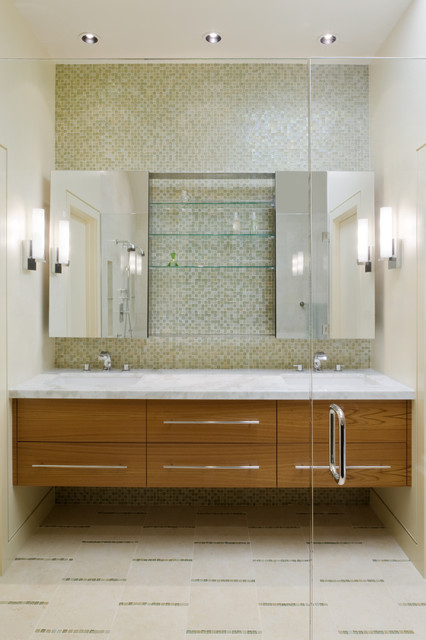 Mirrored Medicine Cabinet Bathroom Contemporary with Ceiling Lighting Double Sinks