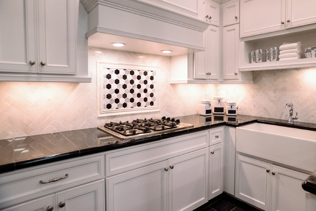 Mirrored Medicine Cabinet Kitchen Traditional with Black and White Black