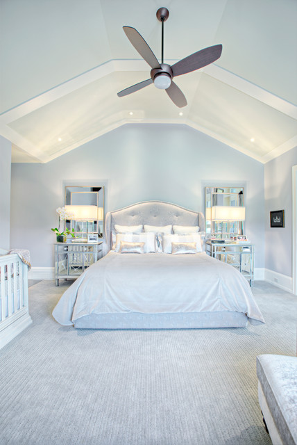 Mirrored Nightstand Bedroom Transitional with Bedding Carpet Ceiling Fan