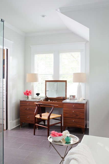 Mirrored Vanity Table Bathroom Contemporary with Baseboard Bathtub Built In