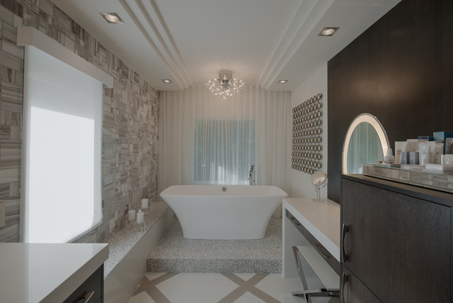Mirrored Vanity Table Bathroom Transitional with Chandelier Floor Pattern Neutral