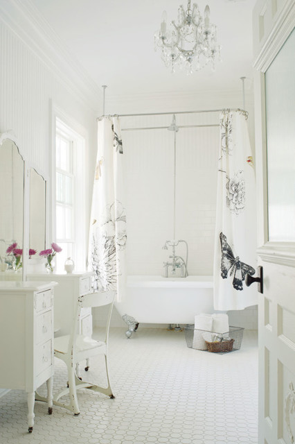 Mirrored Vanity Table Bathroom Victorian with Beadboard Wall Ceiling Mounted
