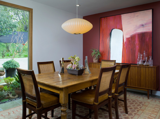Modern Credenza Dining Room Midcentury with Abstract Art Accent Wall1