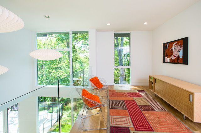 Modern Credenza Family Room Contemporary with Bertoia Chair George Nelson