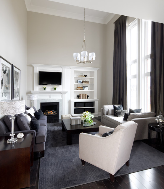 Modern Daybed Family Room Transitional with Built in Bookshelves Built in Fireplace