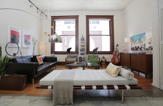 Modern Futon Living Room Eclectic with Arc Lamp Black Couch