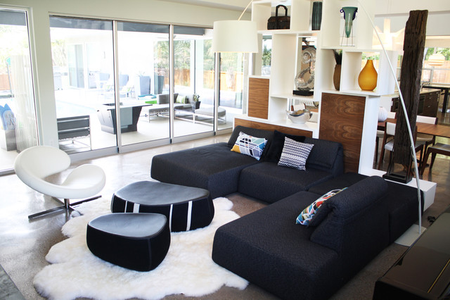 modern futon Living Room Modern with bookcase chair concrete contemporary