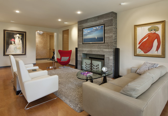 Modern Recliner Living Room Contemporary with Artwork Ceiling Lighting Fireplace1