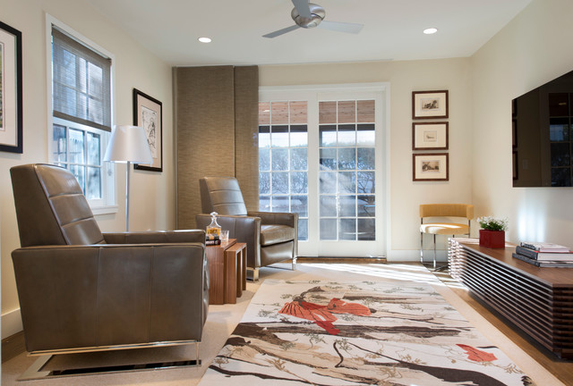 modern recliner Living Room Contemporary with beige carpet beige wall