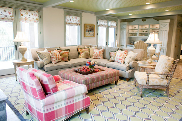 Modular Couch Family Room Traditional with Ottoman Plaid Chair Roman